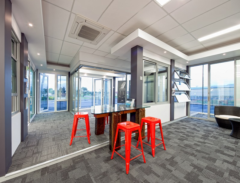 Aluminium glazing fabricator aspect commercial interiors Timber home office furniture brisbane