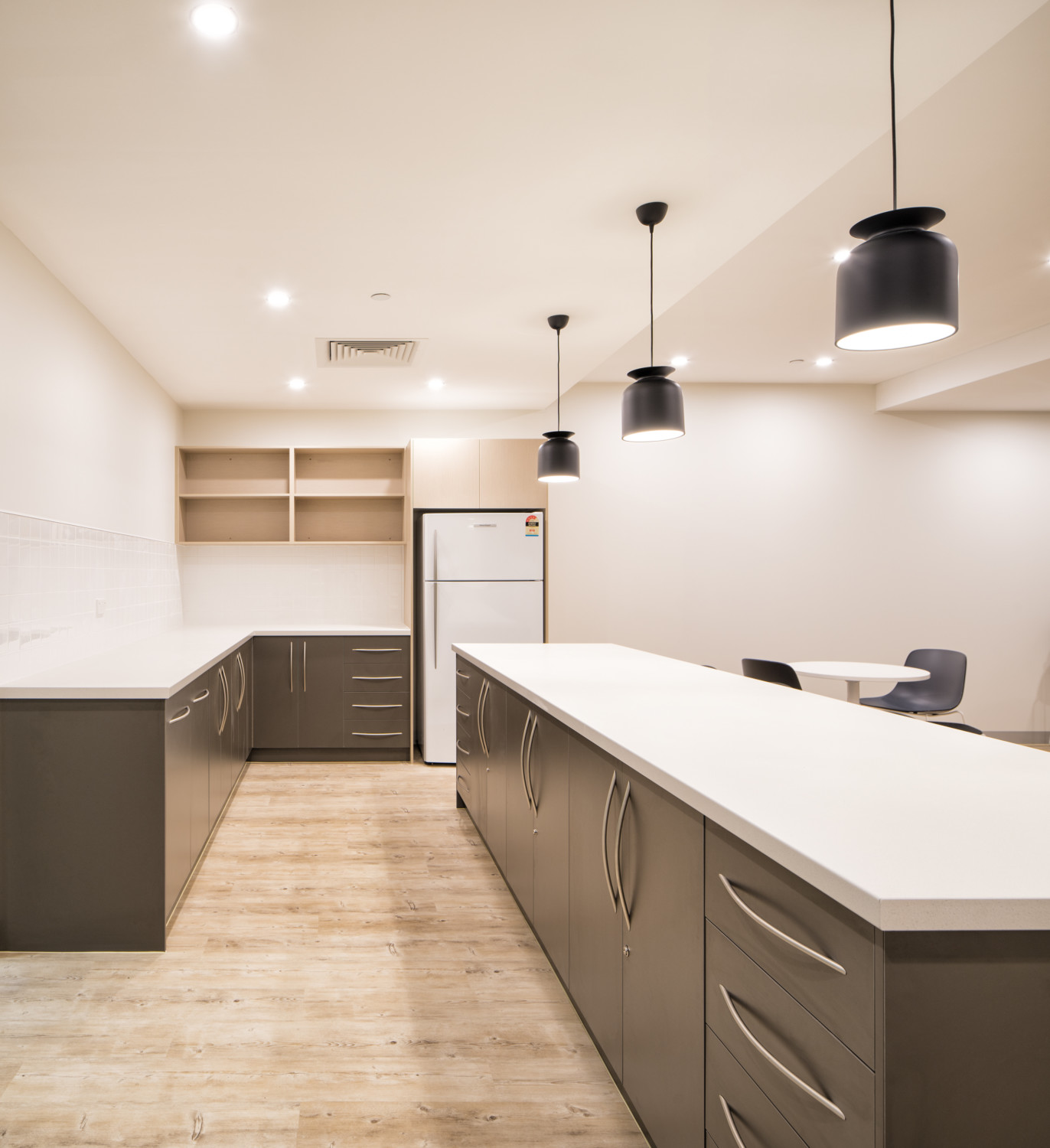 interior design in office. Kitchen, Timber Flooring For Office, Breakout Cafe Interior Design In Office