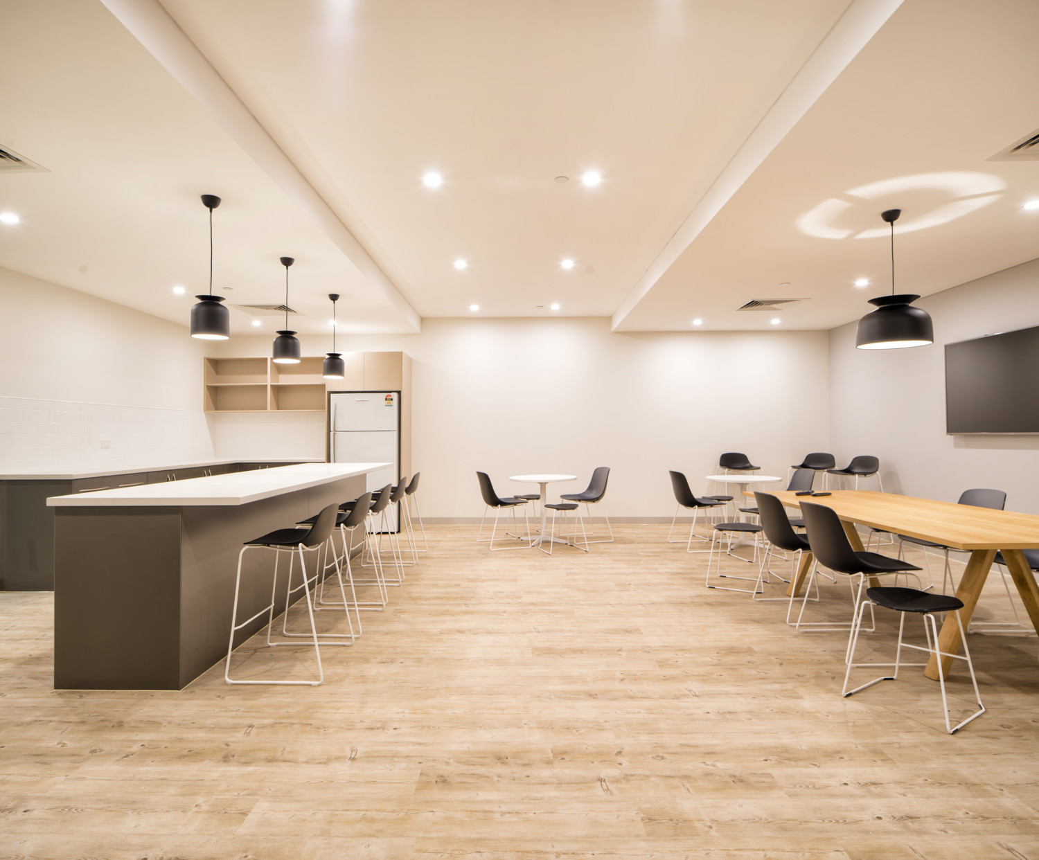 office design space. Kitchen, Timber Flooring For Office, Breakout Cafe. Through Considered Design Office Space